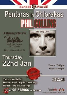 #PhilCollins and the songs of #GenesisTribute... Pentaras, #Chlorakas, Thurs 22 Jan. #Tala, #Paphos Fri 23 Jan. #Limassol Sat 24 Jan. #CoralBay, Paphos Sun 25 Jan. #Pissouri Mon 26 Jan. Further info: www.kendallandmorrelli.com. Shared by Nikki at www.pissouribay.com.