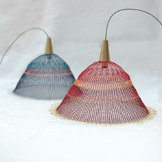Lampshades made from fine crochet needle and color coated copper wires by Yael Falk.
