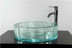 Round Glass Vessel Bath Sink - SinksGallery ,Price: $995.00, From www.glasssinksonline.com