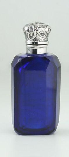 1912 FACET CUT COBALT GLASS SCENT PERFUME BOTTLE, STERLING SILVER TOP