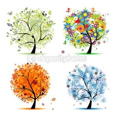 Four seasons - spring, summer, autumn, winter. Art tree but you can use leaves