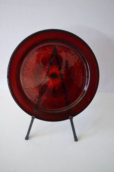 SOLD***Large Ruby Red Depression Glass Serving Plate by TsEclecticCorner