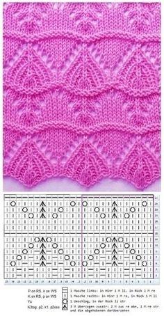 à tricoter avec graphique, graphique strickstelle - Stricken Lochmuster - Tache à tricoter avec graphique, graphique strickstelle - Stricken Lochmuster - кайма Strickmuster Nr. Lace Knitting Stitches, Knitting Machine Patterns, Lace Knitting Patterns, Knitting Charts, Free Knitting, Baby Knitting, Stitch Patterns, Crochet Baby, Easy Crochet