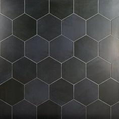 Paige Antracite 10 Hexagon Matte Cement Look Porcelain Tile Hexagon Tile Bathroom, Black Hexagon Tile, Hex Tile, Black Tiles, Hexagon Tiles, Bathroom Flooring, Kitchen Flooring, Wall Tiles, Kitchen Tiles
