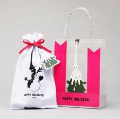 Poppy Images, Paper Bag Design, Japanese Design, Happy Holidays, Packaging Design, Wraps, Reusable Tote Bags, Graphic Design, Christmas Ornaments