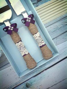 Wedding cake knife set / burlap knife set by FallenStarCoutureInc