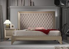 Dormitorio lacado con cabecero tapizado en capitonné con botones, mod: GA24