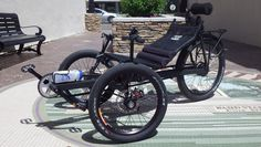 Crinkle Black Terra Trike Rover from Utah Trikes - not only a cool custom paint job, but a custom texture also! Complete with lumbar support, storage, and internal gearing. #recumbent #trike #UtahTrikes