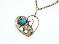 Heart pendant wire wrap heart pendant by MargoHandmadeJewelry