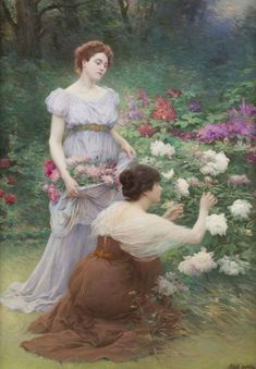 ⊰ Posing with Posies ⊱ paintings of women and flowers - Albert Lynch Renaissance Kunst, Renaissance Paintings, Lesbian Art, Gay Art, Aesthetic Painting, Aesthetic Art, Paintings I Love, Beautiful Paintings, Rennaissance Art