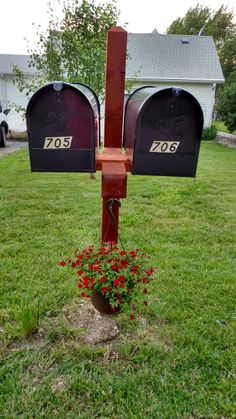 Double Mailbox Post