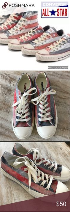 🇺🇸Converse Stars and Stripes Low Tops/sz 6.5 Show your patriotic spirit this July 4th with these Converse Low Top Sneakers! Hard to find Stars and Stripes style, was sold at Nordstrom! NWT, size 6.5 women's/4.5 men's. Brand new/no box. 🚫no trades, low offers not accepted. Converse Shoes Sneakers
