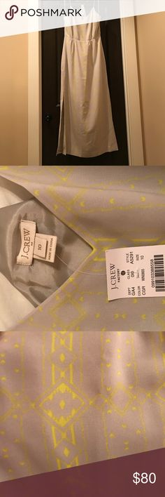 J.Crew Factory Printed Maxi Dress NEVER WORN! BRAND NEW! Tags still on. Online exclusive. Polyester. Lined. Machine Wash. Gray with Printed Aztec Patten in yellow. J. Crew Factory Dresses Maxi
