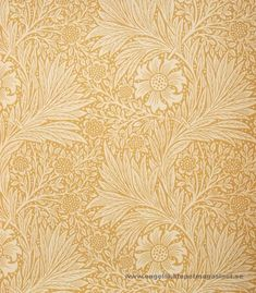 Marigold wallpaper from the Morris & Co Archive Wallpaper collection. A two tone yellow floral and leaf wallpaper, circa This wallpaper has a matching linen fabric, shown below. William Morris Tapet, William Morris Wallpaper, Morris Wallpapers, Modern Wallpaper Designs, Designer Wallpaper, Arts And Crafts Furniture, Furniture Ideas, Art And Craft Design, Wall Patterns