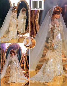 Jeweled Edwardian Bride Gown Crochet Doll par DollBookCollection