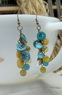 Aqua yellow button cats eye beads earrings by BeautyRecycled, $15.00