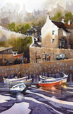 Crail Harbour by Iain Stewart, Watercolor Watercolor Architecture, Watercolor Landscape, Landscape Art, Watercolor Artists, Watercolor Illustration, Watercolour Painting, Watercolours, Gouache, Boat Drawing