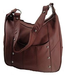 Leather Concealed Carry Gun Purse Left/Right Hand W/ Locking Zipper Wine - Handbags, Bling & More!