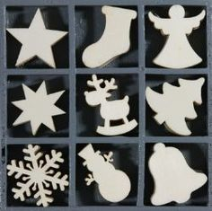 Wooden Laser Cut Ornaments - Case of 45, Christmas Shapes