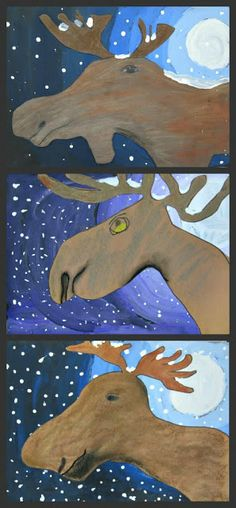 Moose Original post can be found H ere This month in my MaryMaking Favorites class I am revi. , Moonlit Moose Original post can be found H ere This month in my MaryMaking Favorites class I am revi. Classroom Art Projects, School Art Projects, Art Classroom, Art Lessons For Kids, Art Lessons Elementary, Art For Kids, Christmas Art Projects, Winter Art Projects, January Art