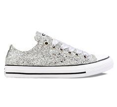 77e1e8a9fa9f Womens Sparkly Silver Glitter Converse All Stars Chucks Sneakers Shoes
