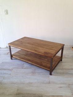 Mesa de centro tapa doble madera y hierro - tienda online