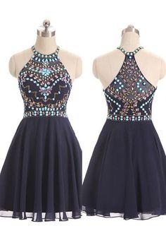 New Style Beautiful Beaded Short Navy Blue Halter Prom Dresses, Chiffon Short Party Dresses, Homecoming Dresses