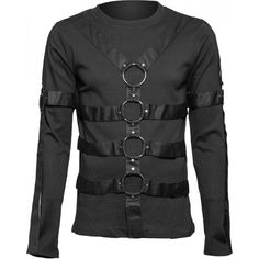 Black gothic mens shirt with long sleeves, straps and metal ring details, by Queen of Darkness Clothing.