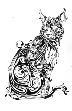 Si Scott is a full-time artist, designer and creative consultant based in the UK and that's pretty much all I've . Abstract Drawings, Animal Drawings, Abstract Art, Doodles Zentangles, Si Scott, Desenho Tattoo, Future Tattoos, Doodle Art, Cat Art