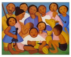 Family(1925) - Oil on Canvas - Tarsila do Amaral.
