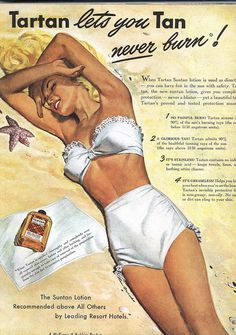 Ad for Tartan suntan lotion 1947 | vintage swimsuit swimwear