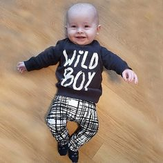 Baby Boys Clothes Set Long Sleeve Wild Boy TShirt Pants Outfit Winter Spring 1824 Months Black -- You can find out more details at the link of the image.-It is an affiliate link to Amazon. #BabyClothing