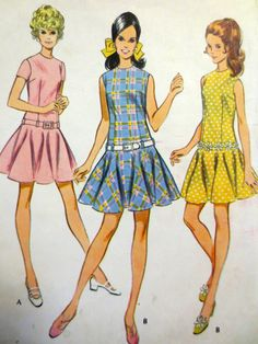 Vintage McCalls Sewing Pattern 9645 (1969) Misses and Junior Dress - Size 10 Bust 32.5