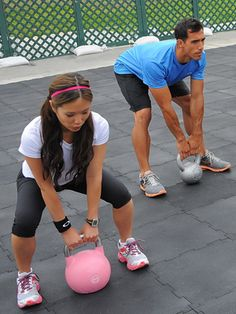 Lower-Body Exercise 2: Kettlebell Squat  Body parts: butt and thighs.    How to do it: Stand with feet wide, toes pointing forward, and hold a heavy kettlebell (or dumbbell) in front of hips with palms facing toward you. Keeping your chest lifted, squat until your thighs are parallel to the ground [shown]. Pause, and then rise up to standing and repeat. Do 20–25 reps.