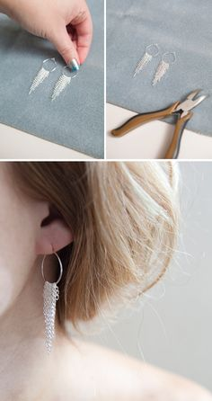 Learn how to make diy chain earrings! Super easy!