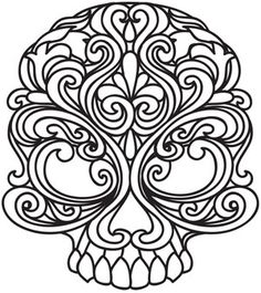 Embroidery designs at urban threads - baroque punk skull. Paper Embroidery, Embroidery Patterns, Machine Embroidery, Henna Patterns, Skull Coloring Pages, Coloring Book Pages, Portfolio Creative, Wood Burning Patterns, Urban Threads