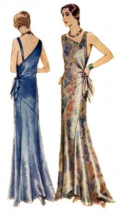 1930s McCall evening gown pattern 62982.