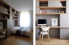 Rénovation d'un appartement contemporain à Lyon avec un meuble central sur mesure. Tête de lit et bureau scandinave.