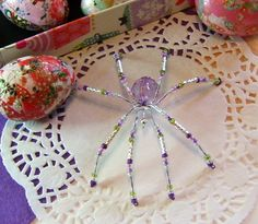 Purple and Green Spider by LindaLarsens on Etsy, $10.00