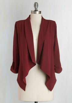 Marketing Maven Blazer in Burgundy. With this dark red blazer in your closet, your look is as lively as your day-to-day job of planning events, designing campaigns, and creating advertisements. #red #modcloth