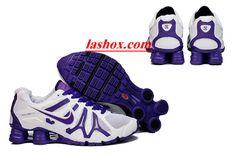 chaussures nike shox turbo+gris femme (blanc/pourpre)