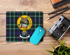 Rubber mousepad with Graham clan crest and tartan - only from ScotClans