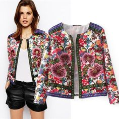 Women's Floral Embroidery Flower cardigan Short jacket COAT Spring Outwear Hot h Coats For Women, Jackets For Women, Clothes For Women, Women's Jackets, Casual Jackets, Bomber Jackets, Vintage Mode, Vintage Ladies, Cardigan Casual