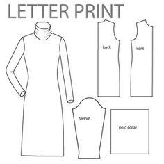 Free knit turtleneck dress pattern from Burda Style, sz US10-14