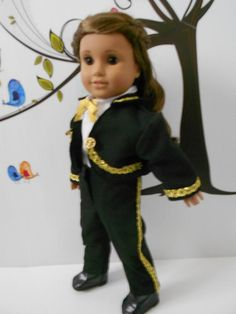 Mariachi charro suit traje black gabardine with gold trim for American Girl doll 18 in handmade custom order Charro Suit, Boys Suits, Ready To Play, Boy Doll, Line Jackets, American Girl, Cotton, Horse, Bow