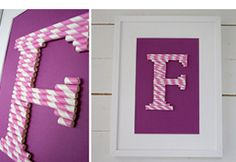 Letters out of cut & glued straws.