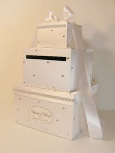 Items similar to Wedding Card Box White Gift Card Money card Box Holder-Customize your color on Etsy Wedding Post Box, Card Box Wedding, Wedding Album, Wedding Stationary, Wedding Table, Diy Wedding, Handmade Wedding, Wedding Stuff, Wedding Ideas