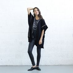 Final Summer SALE Embroidered Poncho,Black .