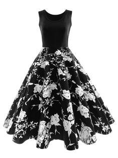 971c8ce1a41b Vintage Floral Print Midi Dress - FLORAL XL Audrey Hepburn