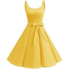Bbonlinedress 1950's Bowknot Vintage Retro Palka Dot Rockabilly Swing... ($50) ❤ liked on Polyvore featuring dresses, polka dot swing dress, dot dress, retro rockabilly dresses, vintage dresses and swing dress